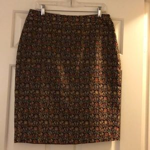 Black/multi-color Brocade Skirt